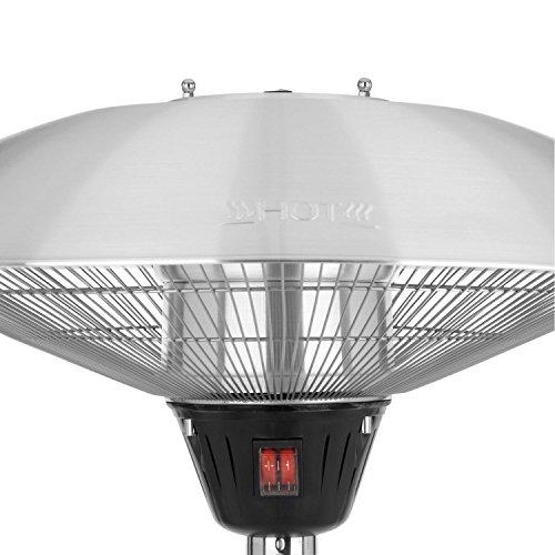 blumfeldt Heat Guard • Heizstrahler • Terrassen-Heizpilz • Standheizer • IP44 • 3 Stufen: 900, 1200 und 2100 W • höhenverstellbar • witterungsbeständig • Aluminium-Standfuß • 1.8 m Netzkabel • silber - 3