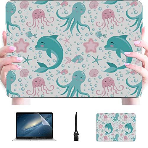 A1707 Macbook Pro Funda de Dibujos Animados Cute Water Creature Dolphin Plastic Hard Shell Compatible Mac Air 13