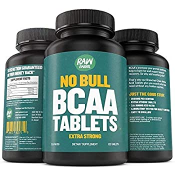 BCAA Tablets - 120 Pills, Extra Strong 1000mg Per Tablet - 2:1:1 Branched Chain Amino Acid Ratio Supplement - Non-GMO Natural Ingredients - by Raw Barrel