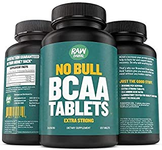 Raw Barrel's Pure BCAA Tablets - 120 Pills, Extra Strong 1000mg Per Tablet - 2:1:1 Branched Chain Amino Acid Ratio - Includes Digital Guide