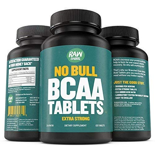 Raw Barrel's Pure BCAA Tablets - 120 Pills, Extra...