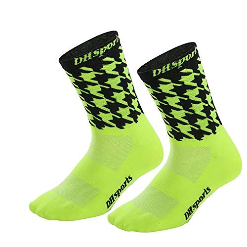 DH-015 Calcetines de Ciclismo Profesional Respirable y humectante Motos Deportivas Calcetines para Correr Senderismo Entrenamiento en el Gimnasio Calcetines geniales - Azul Fluorescente