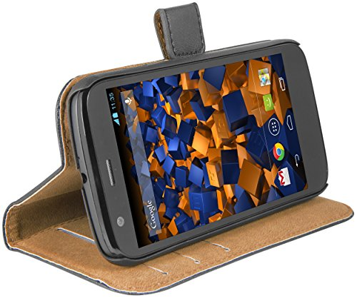 mumbi Echt Leder Bookstyle Hülle kompatibel mit Motorola Moto G Hülle Leder Tasche Hülle Wallet, schwarz