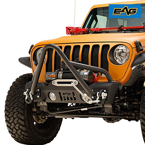 EAG Stubby Front Bumper with Stinger Hoop and Fog Light Hole Fit for 18-21 Wrangler JL