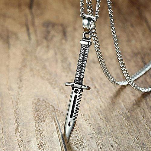 XQKQ Männer Supernatural Schwert Dolch Messer Halskette Anhänger Edelstahl Männlicher Fahrradschmuck Kreative Persönlichkeit Zubehör Halskette Anhänger Kette für Frauen Männer