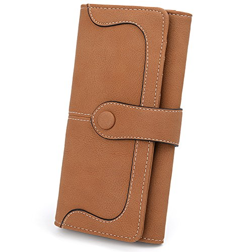 UTO RFID Wallet for Women Vegan Leather 18 Card Slots Card Holder Long Bifold Checkbook 5.5' Phone Blocking Tech Wallet Coffee