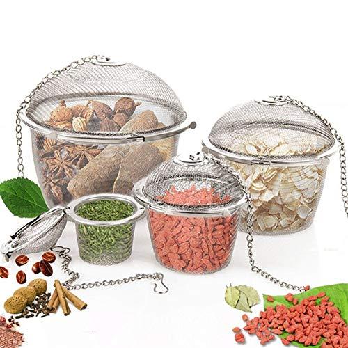 Tee-Infuser-Sieb. Teesieb mit 2 Griffen Deckel 3 Größe Edelstahl-Tee-Locking Gewürz-Ei-Form Kugel-Ineinander greifen Infuser (Size : L)