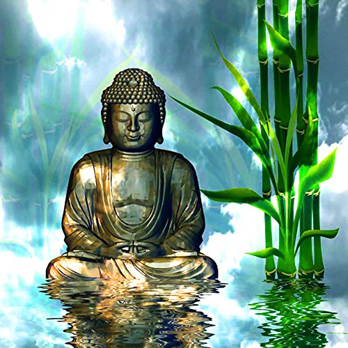Rovepic 5D Diamond Painting Kits Buddha Statue Round Full Drill, DIY Paint with Diamonds Art Bamboo Lake Crystal Rhinestone Cross Stitch for Home Office Wall Crafts Decorations 12×16 Inch