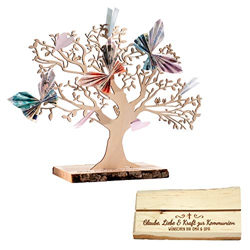 Casa Vivente Geldbaum mit Gravur – Glaube, Liebe & Kraft zur Kommunion – Personalisiert mit Namen – Aus Erlenholz – Groß – Verpackung für Geldgeschenke – Geschenkidee für Mädchen und Jungen