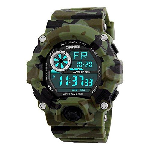 Relojes de los muchachos Camuflaje Digital Deportes Militar Impermeable Cronómetro LED Alarma Relojes Multifunción para Hombres Niños - Camuflaje Verde