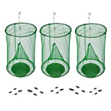 Annay Ranch Fly Trap Outdoor Hanging   Reusable Fly Trap   Food Bait Flay Catcher Cage for Indoor or Outdoor Family Farms, Park (3 Pack)