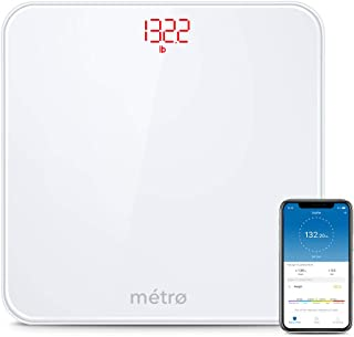 Metro-Scales Digital Body Weight Bathroom Scale with Step-On Technology, Bluetooth Smart Weight and BMI Scale with Free Mobile App, Multiple Users, 400Lb (White)
