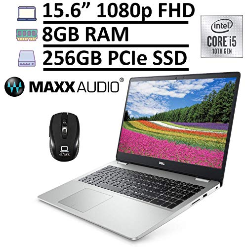 2020 Dell Inspiron 15 5000 5594 Laptop, 15.6' FHD Anti-Glare, 10th Gen Intel Core i5-10210U (Beats i7-7567U) 8GB RAM 256GB PCIe SSD, MaxxAudio Pro Backlit Keyboard Win 10 + ePark Wireless Mouse