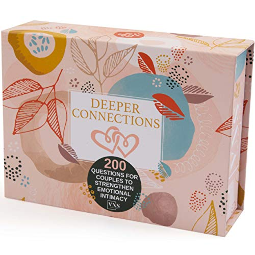 Deeper Connections: Card Game for Couples | 200 Meaningful Conversation Starters to Connect & Reconnect | Fun Conversation Cards for Couples to Improve Emotional Intimacy & Build Strong Relati...