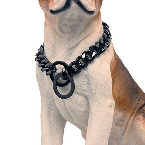 Martingale Black Chain Cuban Link Dog Collars for Small Medium Large Dogs, 15mm Wide Metal Stainless Steel Choker