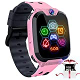 "Kids Game Smart Watch Phone - 1.54"" Touch Screen Game Smartwatches with [1GB Micro SD Card] Call SOS Camera 7 Games Alarm Clock Music Player Record for Children Boys Girls Birthday Gifts 3-10 (Pink)"
