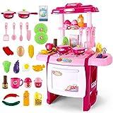 LWQ Juego de Cocina para niños,Children's Kitchen Toys, Large Simulation Kitchen set-Pink-63cm High