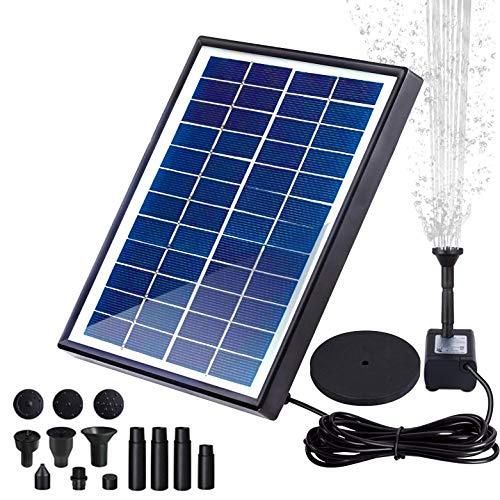 Fuente solar para estanque, bomba solar con bomba, 6 W, 500 l/h, caudal máx. 180 cm de...