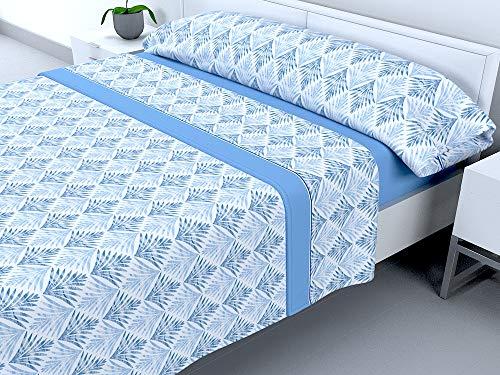 Cabello Textil Hogar - Juego de sábanas térmicas de Pirineo - 3 Piezas - 110 Gr/m2 - Mod. Leilan (Azul, 150_x_190/200 cm)