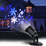 Christmas Projector Lights LED White Blue Rotating Snowflake Snowstorm Light Projector with Snowfall for Halloween Birthday Wedding Theme Party Garden Home Winter Outdoor Indoor Decor [2020 Updated]