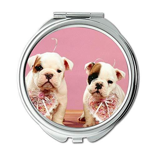Yanteng Spiegel, Runder Spiegel, Rottweiler Hündchen, Taschenspiegel, 1 X 2X Vergrößerung