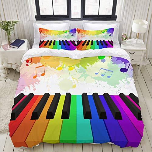 LASINSU Bedding Juego de Funda de Edredón,Ilustración Arco Iris de Color Teclas de Piano Musical,Microfibra Funda de Nórdico y Fundas de Almohada (Cama 150x200cm+Almohada 63X63cm)