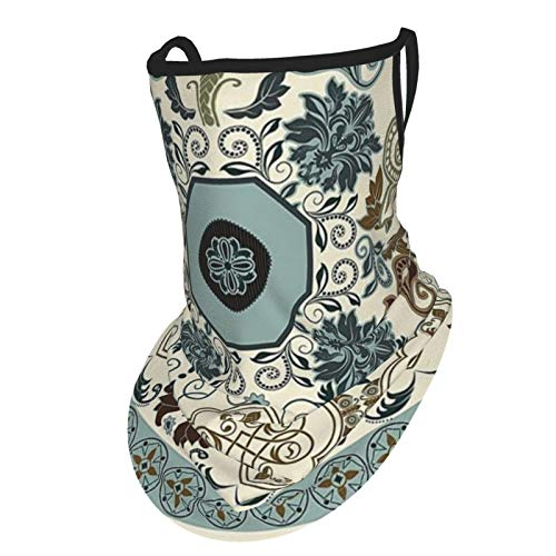 Paisley Decor Floral Pattern In Royal Style Ornaments With Striped Signature Borders Multi Coloredear Hangers Uv Protection Neck Gaiter Scarf, Outdoor Headband For Fishing Cycling Hiking