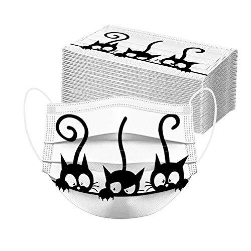 GULASISI Neu Erwachsene Katze Einweg Mundschutz mit Motiv Bunt, Einmal-Mund und Nasenschutz, 3-lagig Atmungsaktive Bandana Face Halstuch für Männer Frauen