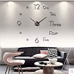 Elikeable New Frameless DIY Wall Clock,3D Surface Mirror Wall Clock Modern Design Large Mute Wall Watches Stickers for Living Room Bedroom Home Decorations (Silver)