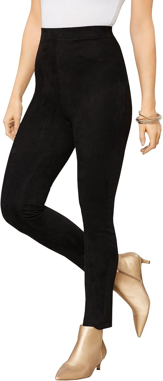 Roamans Women's Plus Size Faux Suede Legging Vegan Leather Stretch Pants