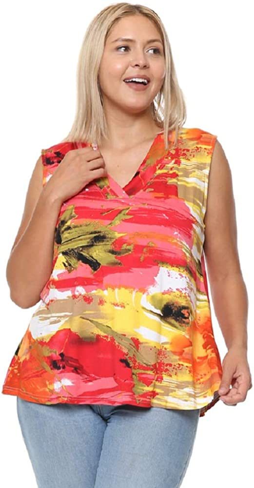 DAMOA Women's Sleeveless Blouse Top - Plus Size Casual V Neck Printed Flowy Summer Tunic Tank T Shirt Tshirt