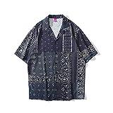 CIDCIJN Camisa Hawaiana para Hombre - Impresión 3D De Moda Hombres Playa Camisa De Manga Corta Botón Abajo Camisa Solapa Camisa Estampado Top Beachwear Verano Manga Corta Lapel Camisa Impresa, M