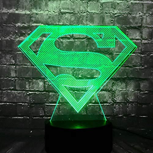 Lámpara con logotipo Superman para niños, cambio Smart Touch 7 colores, D e interior LED, luz nocturna de mesa Illusion S - Regalo para los fans del cino - Regalo de No?l de Amistad - (Super Logo)