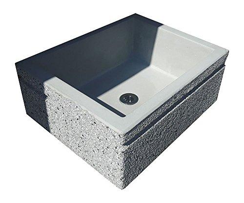 Lavandino lavabo giardino esterno in pietra ricostruita e spezzato di marmo 50x40x20