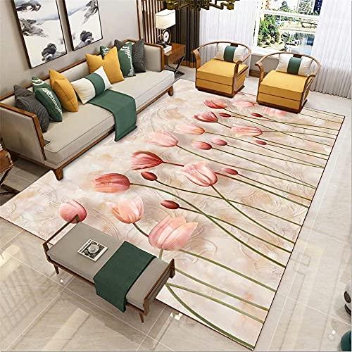 suelo exterior terraza Rosa Sala de estar Alfombrilla Rosa Flor Modelo Modelo Modelo de alfombra antideslizante cuadros decoracion salon grandes 140x200cm alfombras de salon 4ft 7.1''X6ft 6.7'