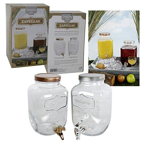 Saftspender 4 Liter aus Glas mit Zapfhahn Wasserspender Getränkespender Yorkshire mit Kunststoffzapfhahn und Deckel in bronze - oder silber - farben (Deckel in bronze-farben)