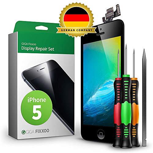 GIGA Fixxoo Display Set kompatibel mit iPhone 5, Reparaturset Komplett Schwarz, Ersatz Bildschirm, Retina LCD Glas mit Touchscreen, inkl. integrierte Frontkamera & Werkzeug