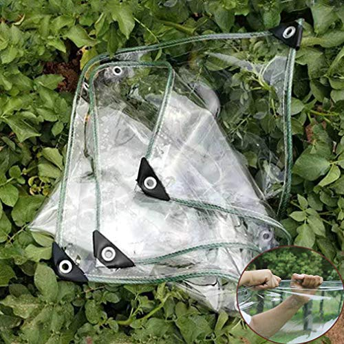 Plant Cover Transparent Tarpaulin,Insulation Waterproof PVC Soft Glass Plastic Tarp with Eyelets,Weatherproof Transparent Tarp for Garden Furniture Greenhouse Hutch Roof (1.8x2.5m/5.9x8.2ft,0.3mm)