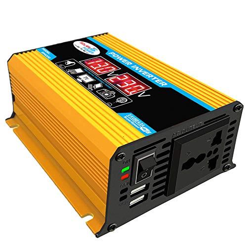 RWQRWQ Inversor De Corriente para AutomóVil con Pantalla LCD, Transformador De Voltaje De 300W 12V A 220V, Puertos USB De Onda Sinusoidal Modificada 2, Esencial para Viajes,Yellow