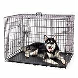 """DHYBDZ Jaula de Metal para Perros con Puerta Doble de 48"""", Jaula de Metal de Alambre Plegable para Perros Grandes, Perrera para Mascotas de fácil Limpieza para Interior y Exterior,91 * 61 * 67cm"""
