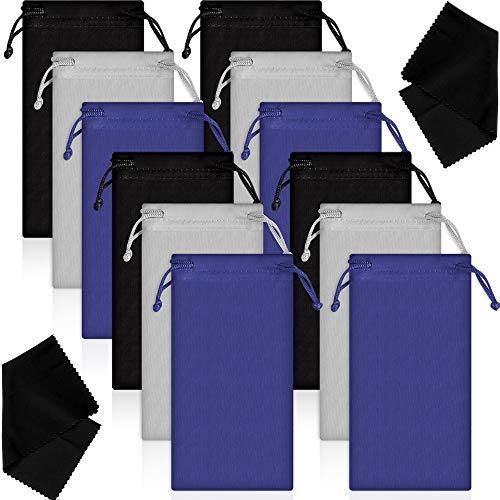 12 Stücke Mikrofaser Tasche Beutel Tasche Mikrofaser Brillen Sonnenbrillen Tasche Weiche Sonnenbrillen Beutel mit Brillen Putztuch (Schwarz, Grau und Blau)