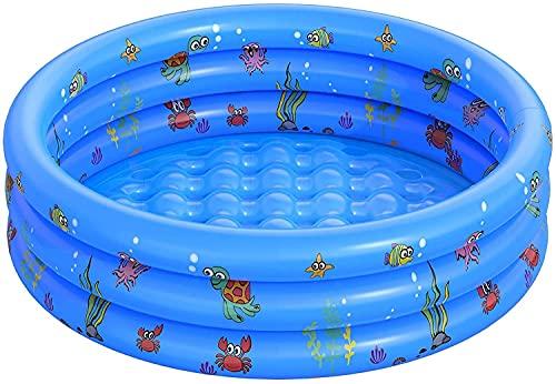 Piscina hinchable de relleno de pequeña piscina para niños redonda plegable de PVC para ducha familiar, bañera portátil en centro de juego de agua melocotón (100 cm)