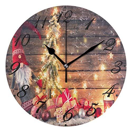 Jacque Dusk Reloj de Pared Moderno,Árbol de Navidad, Santa Claus, Copo de Nieve,Grandes Decorativos Silencioso Reloj de Cuarzo de Redondo No-Ticking para Sala de Estar,25cm diámetro