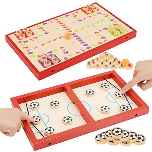 Ulikey Bouncing Brettspiel, Interaktive 2 in 1 Eltern-Kind Interaktion Brettspiel Hockey, Tisch Hockey Spielzeug, Schnell Sling Puck Match-Spie, Brettspiele Hölzerne für Partyspiele