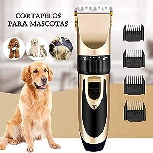 HOTSO Cortapelos Perros, Maquinillas Eléctricas Recortador de Pelo Poco Ruido para Mascotas Gatos Perra Recargable Inalámbrico y Profesional Vibración Suave Cortar Ajustable - Kit de 9 Piezas