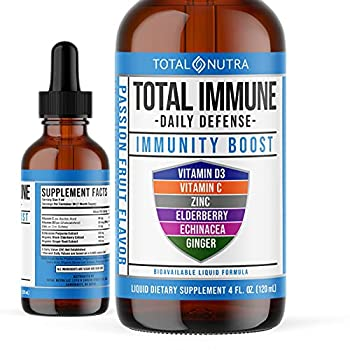 Total Nutra 6-in-1 Passion Fruit Liquid Multivitamin Supplement | 100% Daily Vitamin D3 C & Zinc Immunity Drops | Elderberry Echinacea & Ginger Tincture Defense Support for Adults & Kids | 4 oz