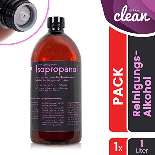 NEU: Isopropanol IPA 99,9% – Isopropylalkohol/Reinigungsalkohol für Küche, Haushalt, Kosmetik und Industrie – Ideal als Reinigungsmittel und Fettentfernung Modell: Flasche Braun (1000ml)
