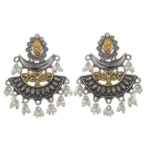 Aheli Antiguo indio oxidado, diseño de flores de doble tono hecho a mano pendientes étnicos Bollywood fiesta desgaste tribal joyería de moda para mujeres