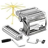 VeoHome Machine à pâtes Manuelle avec séchoir - Acier Inoxydable Outil Polyvalent réglable en épaisseur, laminoir et manivelle - Nouilles fraîches Maison, Spaghetti, lasagnes
