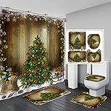 4 Stück Frohe Weihnachten Duschvorhang-Sets mit rutschfesten Teppichen, Toilettendeckelabdeckung, Badematte & 12 Haken Santa Weihnachtsbaum Schneeflocke Duschvorhang für Weihnachtsdekoration